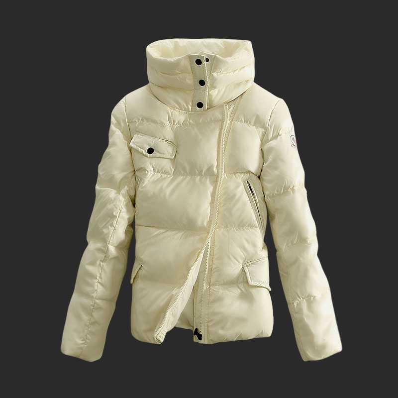 Moncler Down Jackets Women Stand Collar White