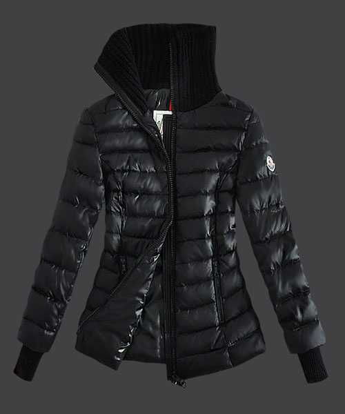 Moncler Down Jackets Women Stand Collar Zip Black