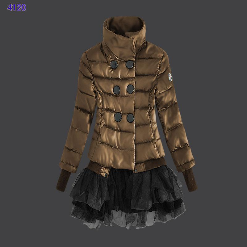 Moncler Down Jackets Womens Lace Coffee