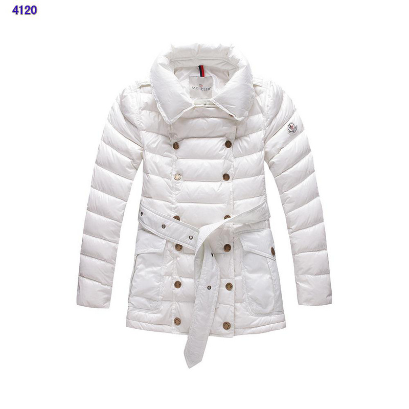 Moncler Down Jackets Womens Long Sleeve White