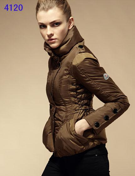 Moncler Down Jackets Womens Stand Collar Coffee