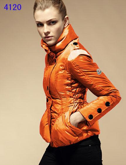 Moncler Down Jackets Womens Stand Collar Orange
