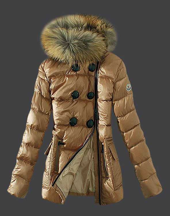 Moncler Down Jackets Womens Zip Fur Collar Light Tan