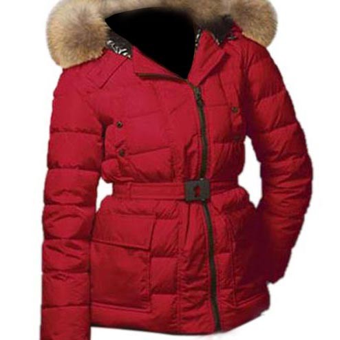 Moncler Down Nantes Hooded Red Jacket Women