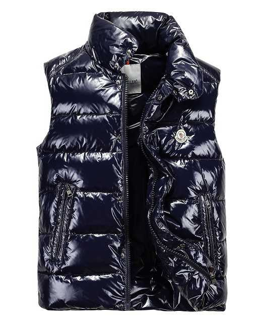 Moncler Down Vest For Men Collar Single-breasted Dark Blue