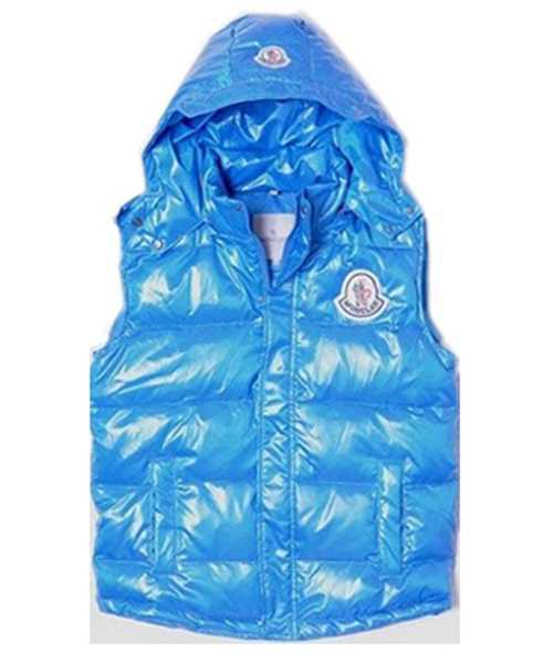 Moncler Down Vest Women Short Sleeveless Button Hat Blue