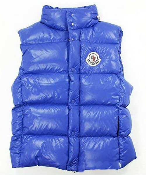 Moncler Down Vest for Men Collar Single-BreaSted Blue