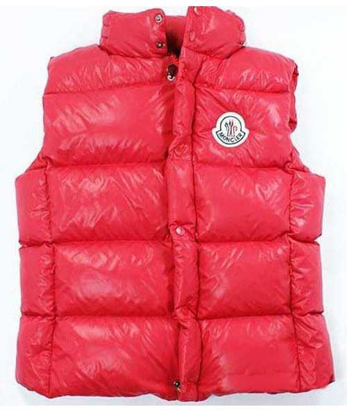 Moncler Down Vest for Mens Collar Single BreaSted Red