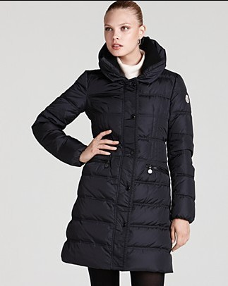 Moncler Down Women Coats Zip Long Black