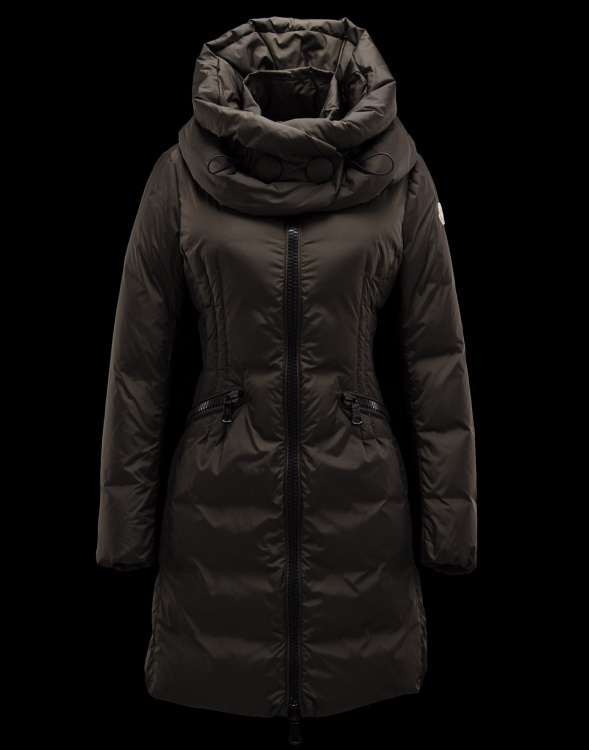 Moncler Down Women Coats Zip Long Brown
