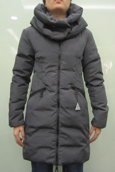 Moncler Down Women Coats Zip Long Grey