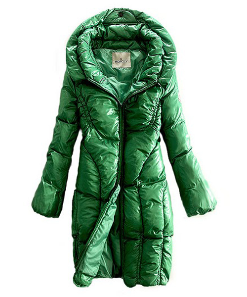 Moncler Down Women Coats Zip Style Long Verde