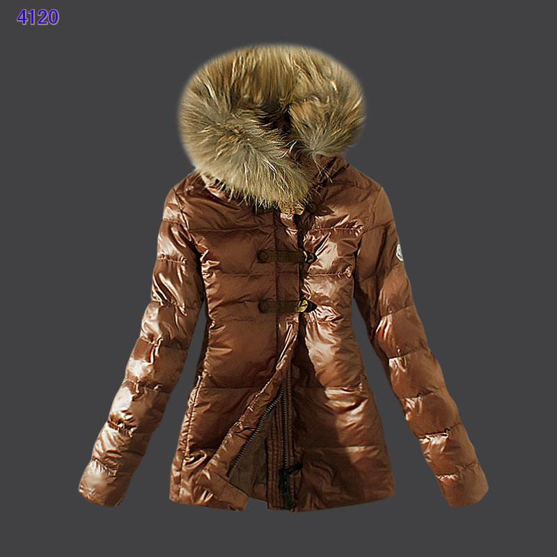 Moncler Down Women Jacket Fur Collar Coffee