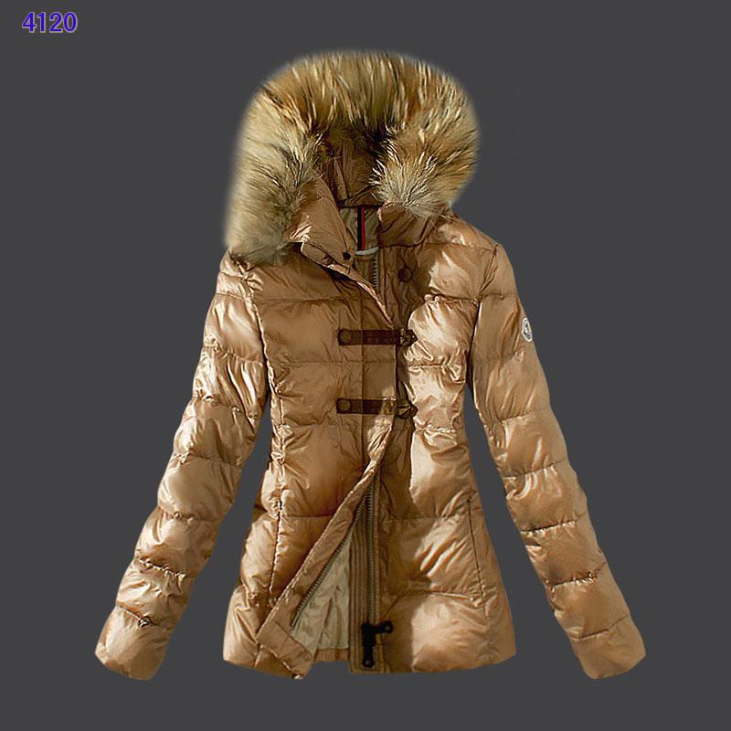 Moncler Down Women Jacket Fur Collar Light Tan