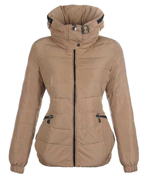 Moncler Epine Jackets For Women Windproof Collar Zip Khaki