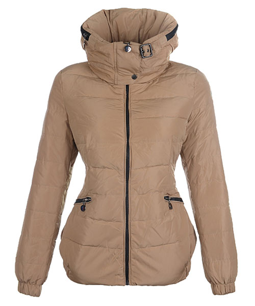 Moncler Epine Jackets For Womens Windproof Collar Zip Khaki