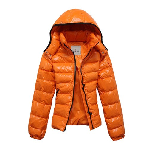 Moncler Fashion Bady Quilted Hooded Down Orange Jacket Women