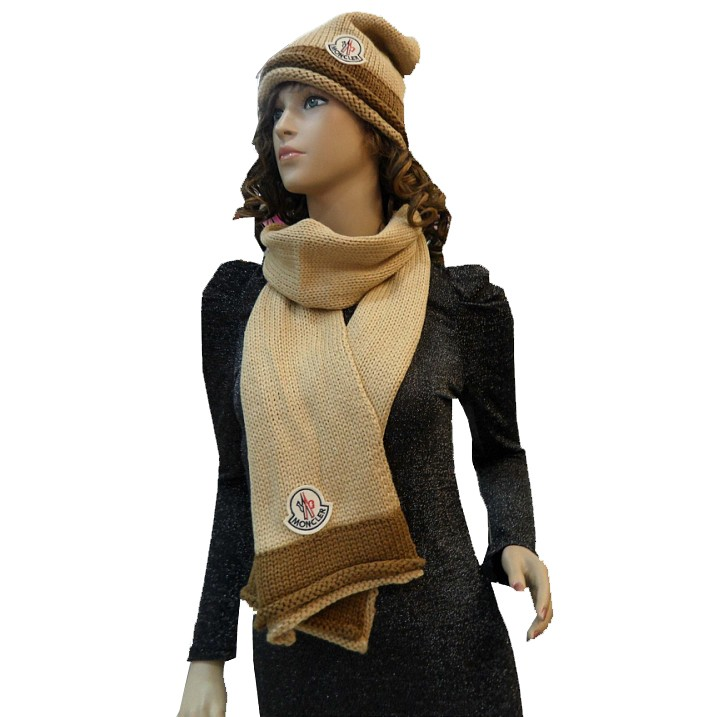 Moncler Fashion Beige Brown Scarf & Cap