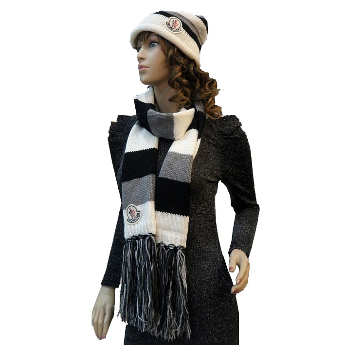 Moncler Fashion Black Grey White Scarf & Cap