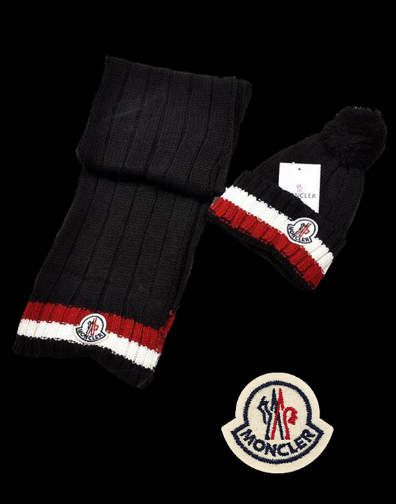 Moncler Fashion Black Scarf & Cap