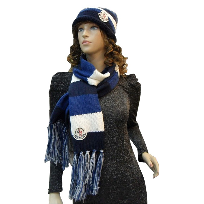Moncler Fashion Blue White Scarf & Cap