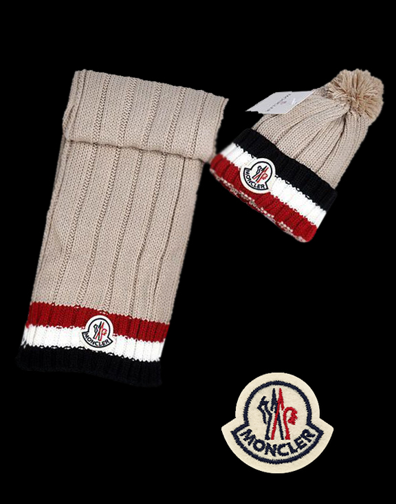 Moncler Fashion Brown Scarf & Cap