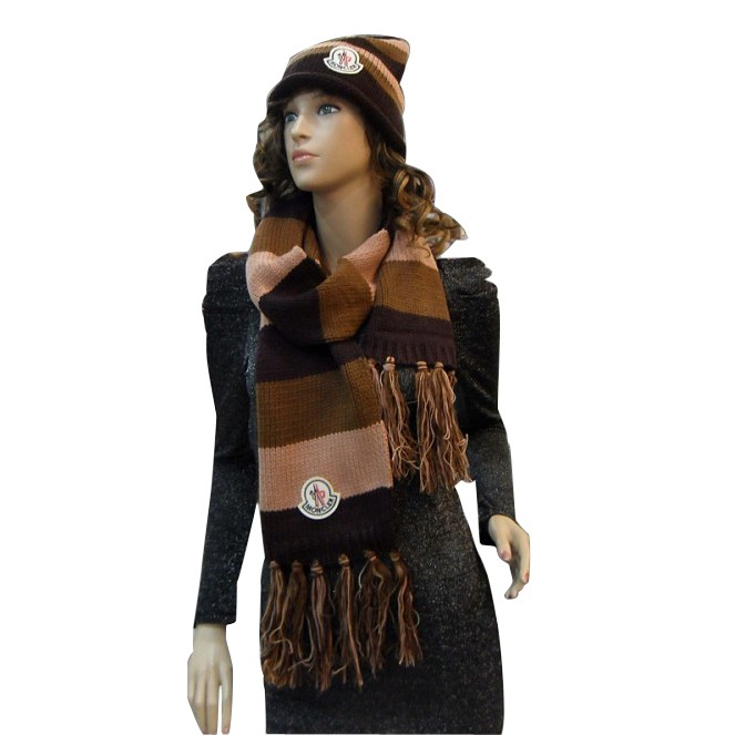 Moncler Fashion Coffee Brown Beige Scarf & Cap