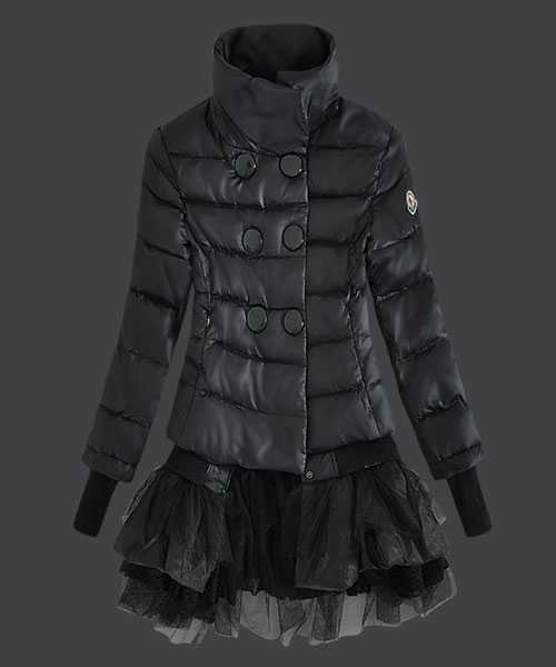 Moncler Fashion Down Jackets Women Lace Black