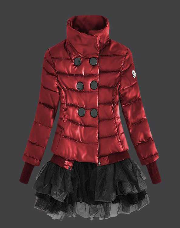 Moncler Fashion Down Jackets Womens Lace Red