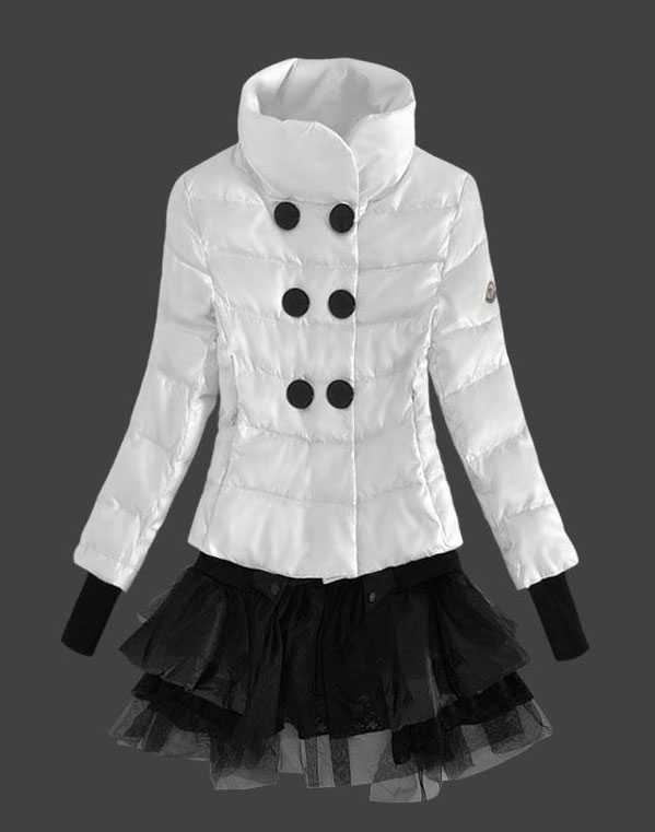 Moncler Fashion Down Jackets Womens Lace White