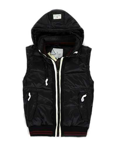 Moncler Fashion Down Mens Vests With Hat Black