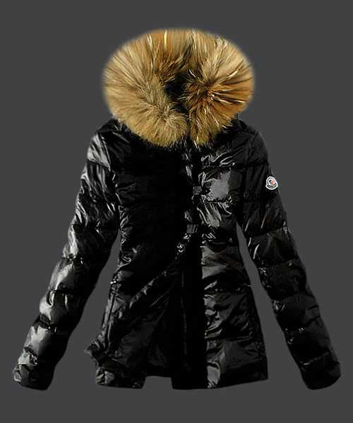 Moncler Fashion Down Women Jackets Fur Collar Black