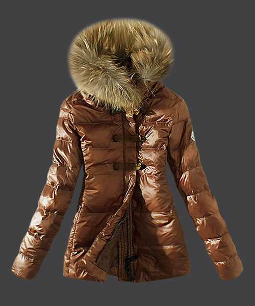 Moncler Fashion Down Women Jackets Fur Collar Coffee