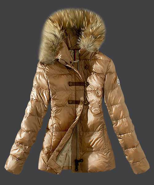 Moncler Fashion Down Women Jackets Fur Collar Light Tan