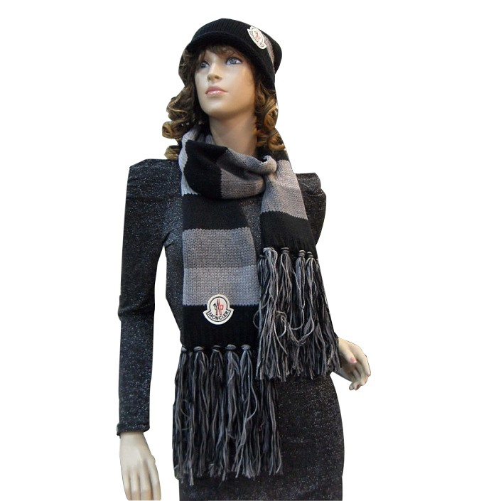 Moncler Fashion Grey Black Scarf & Cap