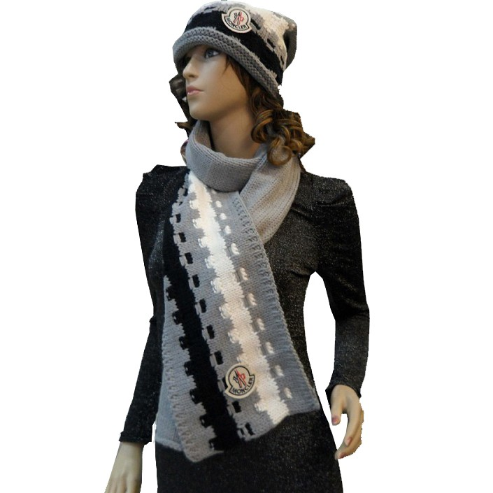 Moncler Fashion Grey White Black Scarf & Cap
