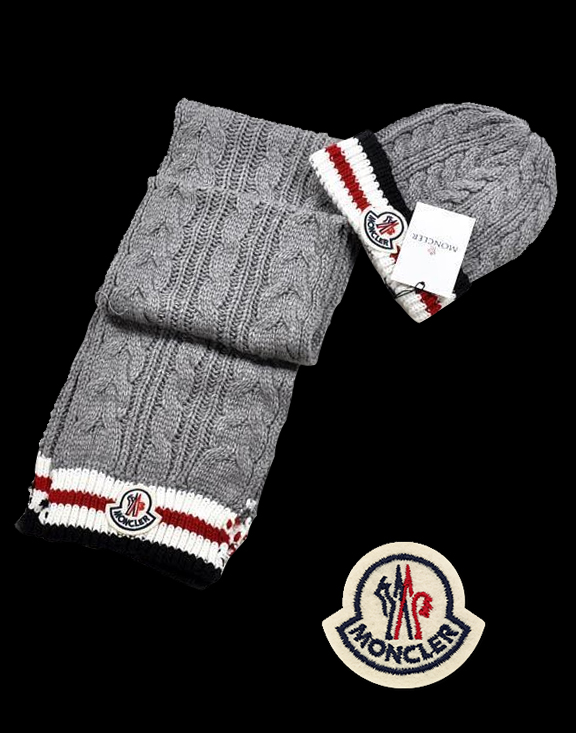 Moncler Fashion Grey White Scarf & Cap
