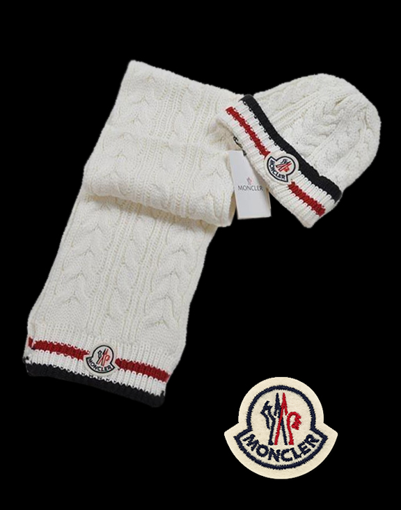 Moncler Fashion White Red Scarf & Cap
