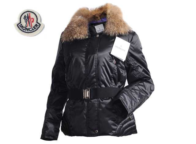 Moncler Faucon Women Down Jackets Zip With Belt Black