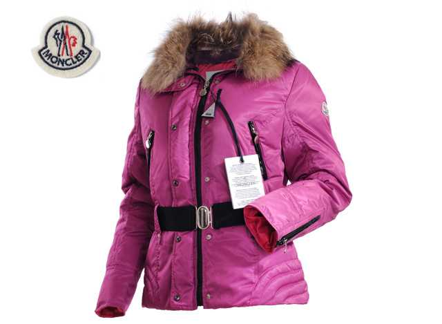 Moncler Faucon Women Down Jackets Zip With Belt Pink