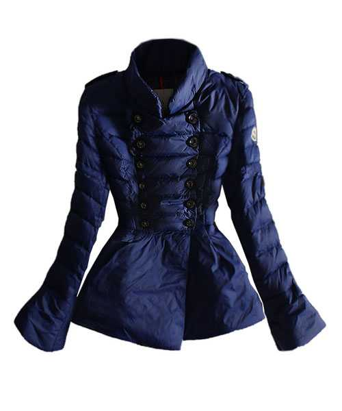 Moncler Featured Down Jackets Women Double Breasted Blue