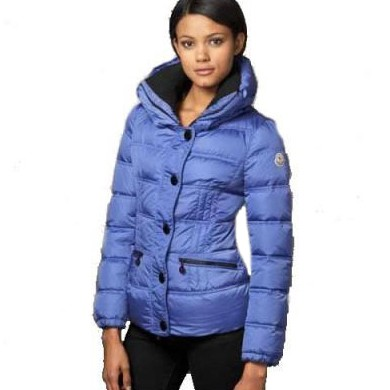 Moncler Fitted Puffer Blue Jacket Women