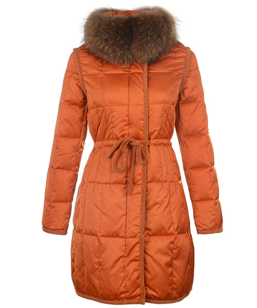 Moncler For Women Coat Euramerican Style Long Orange