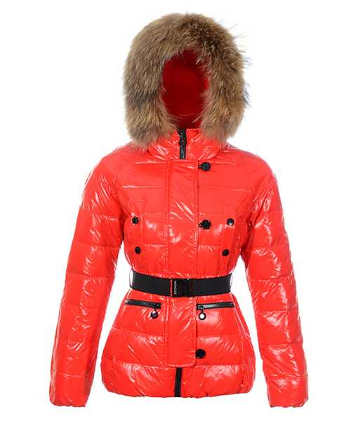 Moncler Gene Design Down Jackets Women Decorative Belt Red