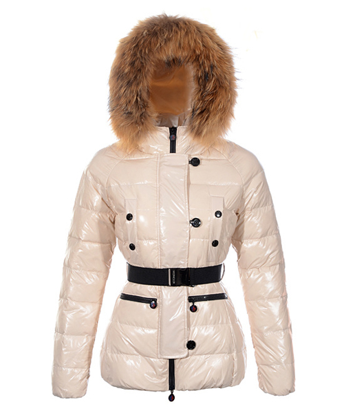 Moncler Gene Design Down Jackets Womens Decorative Belt Beige