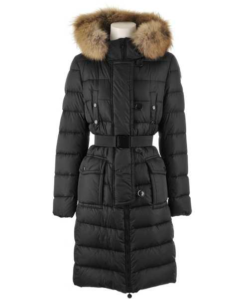Moncler Genevrier Coats Women Fur Collar Long Black