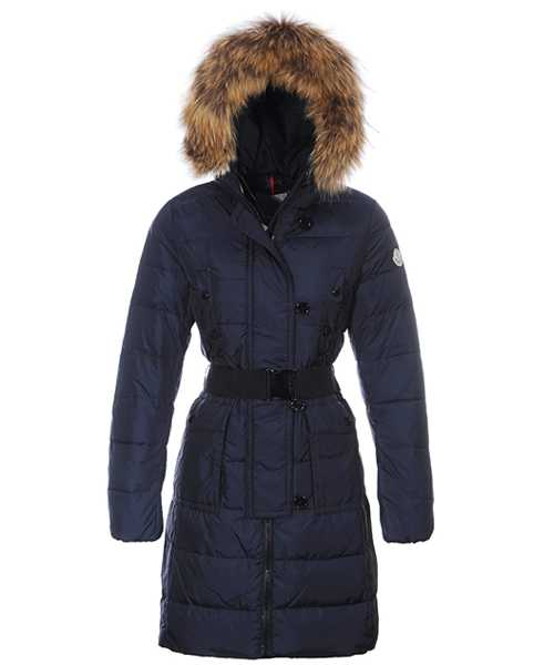 Moncler Genevrier Women Coats Hooded Long Dark Blue
