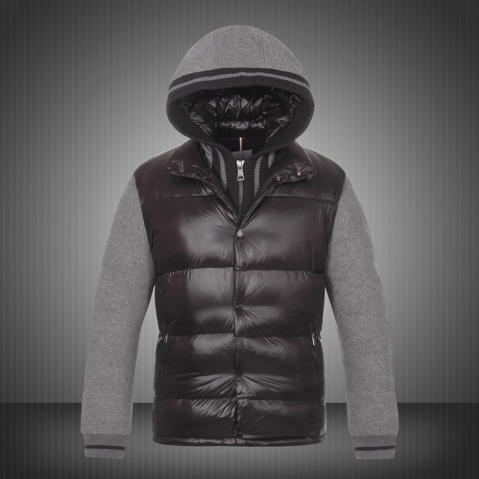 Moncler Ghislain Men Down Jackets Black Grey Sale