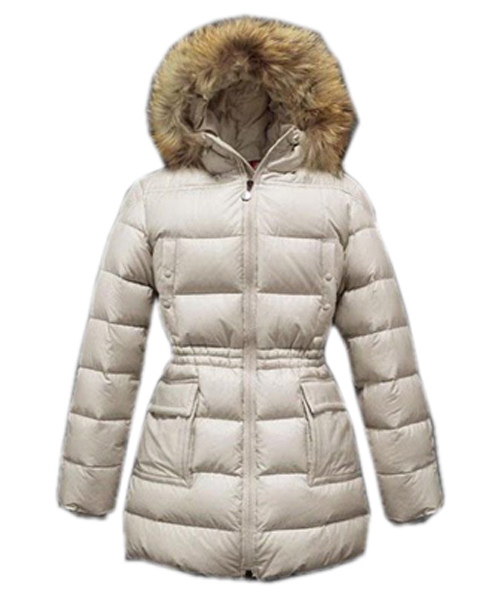 Moncler Gueran Classic Coats Women Down Long Zip White