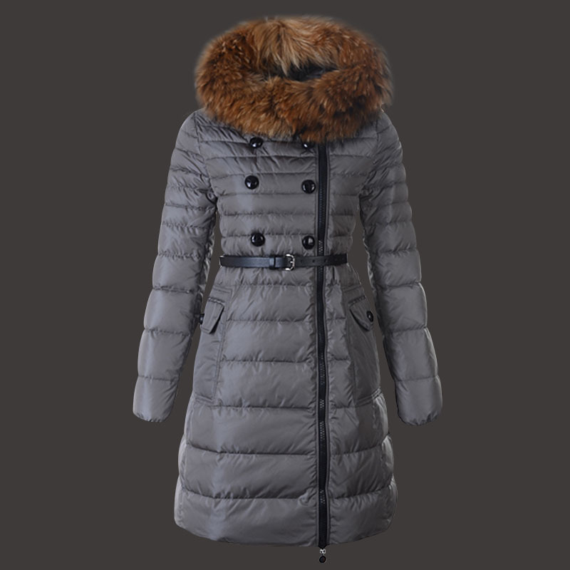 Moncler Herisson Coat Womens Long Gray